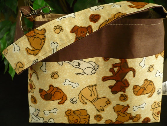Puppies in Brown Mini Diaper Bag