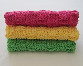 Crochet Washcloths Hot Pink Yellow Green Red Cotton