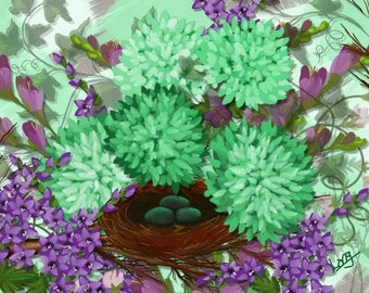 "Original  floral digital painting by Nancy Long, ""Robin's Eggs in Nest"" Mint green and purple flowers and a Spring nest. Nancylongdesigns"