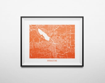 Syracuse, New York Syracuse University Abstract Street Map Print
