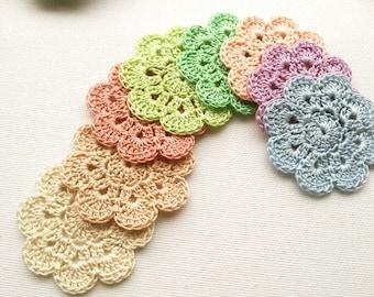 crochet flower applique 8PCS in pastel shades 2'' wide / crochet embelishments, crochet motifs