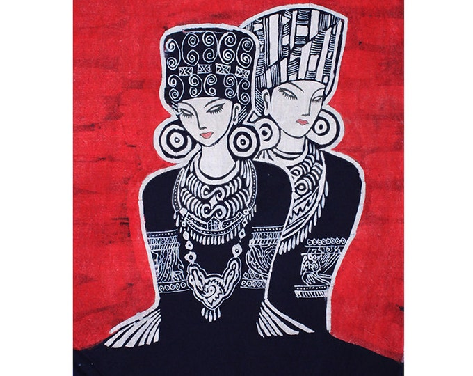 Sisters - Monochrome Batik Tapestry Wall Decorative Painting