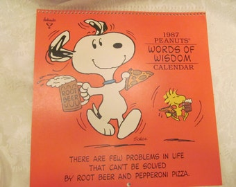 Vintage Peanuts Snoopy Calendar  '' 1987 ''