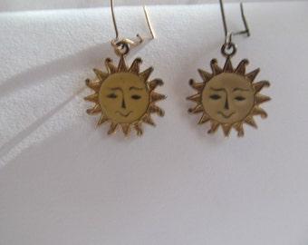 Vintage gold tone and enameled  sun earrings  pierced