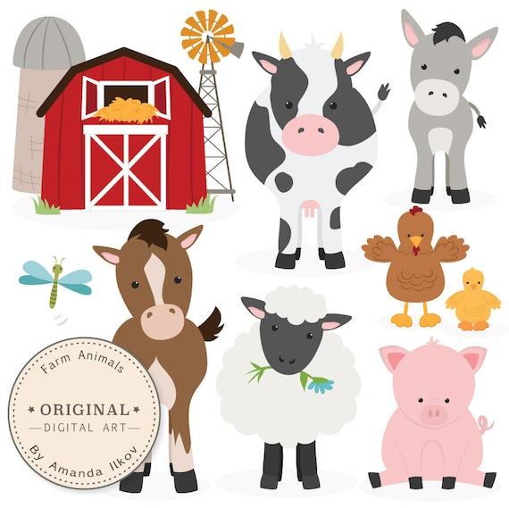 Premium Farm Animals Clip Art Amp Vectors Farm By Amandailkov