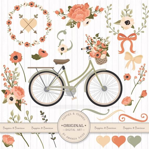 Premium Wedding Clipart Amp Vectors Antique Peach Bicycle