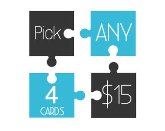 Pick any 4 Handmade Letterpress Cards. Make Your Own Pack