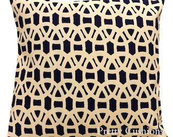 Scion Lace Indigo & Linen Geometric Cushion Cover
