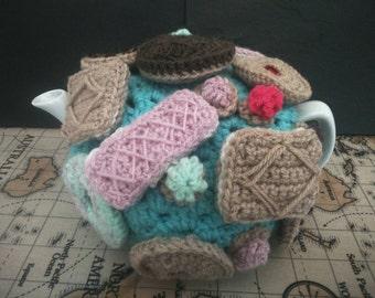 Biscuits crochet tea cosy, fits 4-5 cup pot