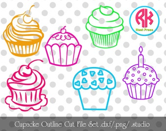 Cupcake Outline Cut Files .PNG, .DXF,