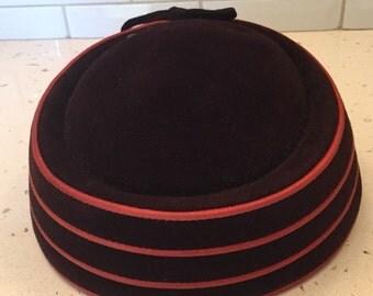 Vintage Brown and Orange Pill Box Hat