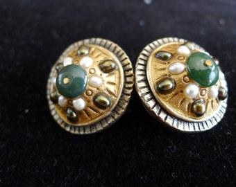 Jewelry Designer Michal Golan Green & White Pearl Earrings