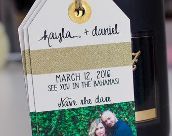 Wedding Invitation Save the Date Luggage Tag Magnet with your Photo and Glitter! Tags that sparkle.