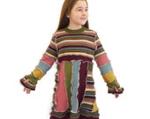 Kids Long Sleeve Dress with Thumb holes Upcycled from Recycled Wool Sweaters and Jumpers