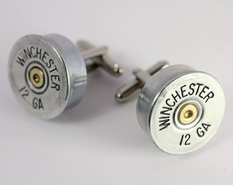 Winchester 12 Gauge Bullet Cufflinks Cuff Links Made w/ Real Bullet Shell Casings Steam Punk Victorian Military Wedding Police Jewelry