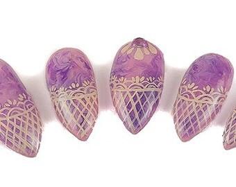 Purple Marble Lace Nails, Fake Nails, Stiletto Nails, Gel Nails, Press On Nails, False Nails, Elegant Nails, Lace Nails, Vintage Nails