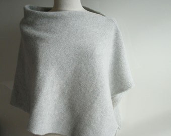 Poncho Knitted in Lambswool - British Spun Wool - Colour Palest Grey