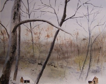 SPLIT RAIL fence, scenic and landscape painting, winter scene, watercolor painting, art sale, snow painting,farm