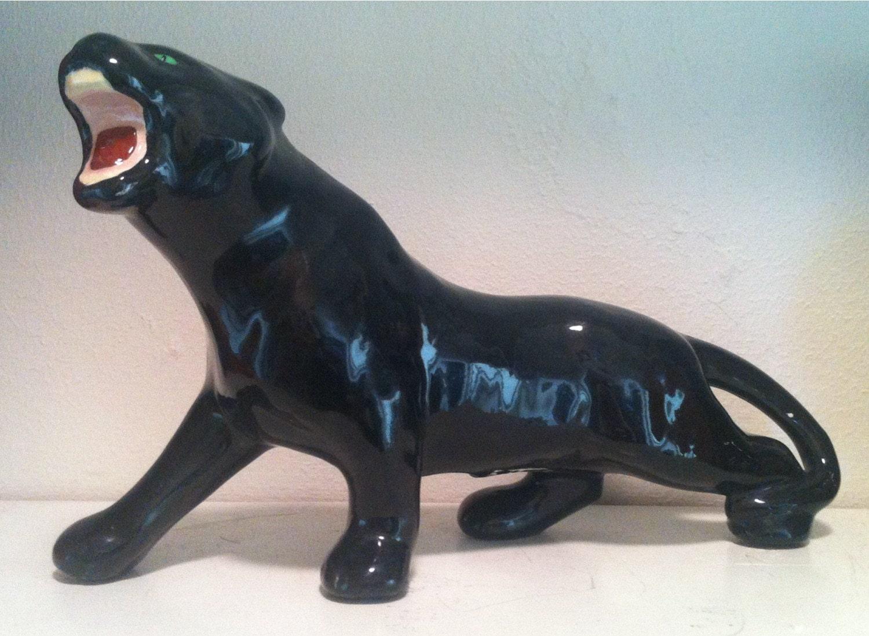 Vintage 1953 ceramic black panther by oilcapitalvintage on etsy - Ceramic black panther statue ...