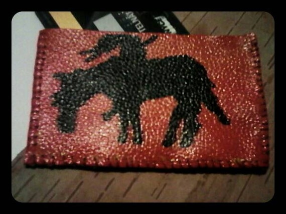 Painted leather card holder/change purse