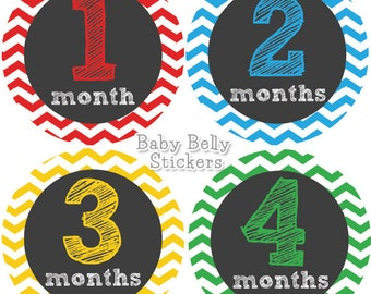 Baby Month Stickers, Monthly Baby Stickers, Monthly Milestone Stickers, Baby Monthly Stickers, Baby Belly Stickers, Chevron Boys