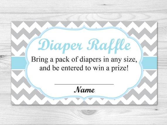 Diaper Raffle Ticket - Printable Diaper Raffle Card: blue, grey ...