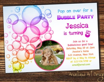 Bubble Birthday Party Invitation, Bubble Party