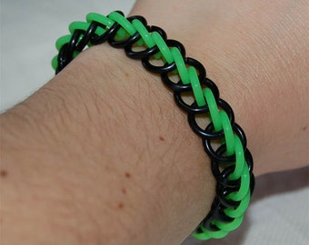 Stretchy cybergoth glow-in-the-dark chainmaille bracelet