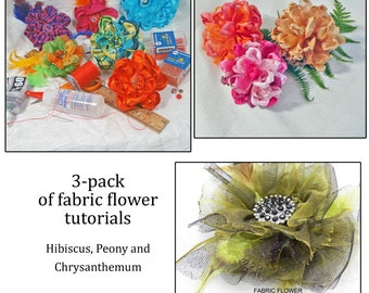 3 Pack of Flower Tutorials - Easy Handmade Flowers - Hibiscus, Chrysanthemum, Peony