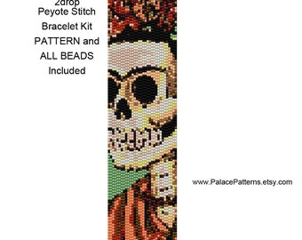 Sugar Skull Bead Loom or 2 Drop Peyote Bracelet KIT P17 - Pattern and Delica Beads and Skull Bead Included