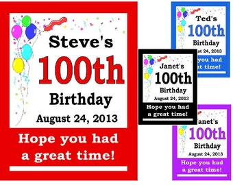 15 ~ 100th Birthday Party Favors Personalized MAGNETS ~ FREE SHIPPING