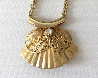 Estate Gold Tone Fan Shaped Necklace with Filigree Detail and Rhinestone - Wedding, Bridal, Mother of the Bride, Bridesmaid