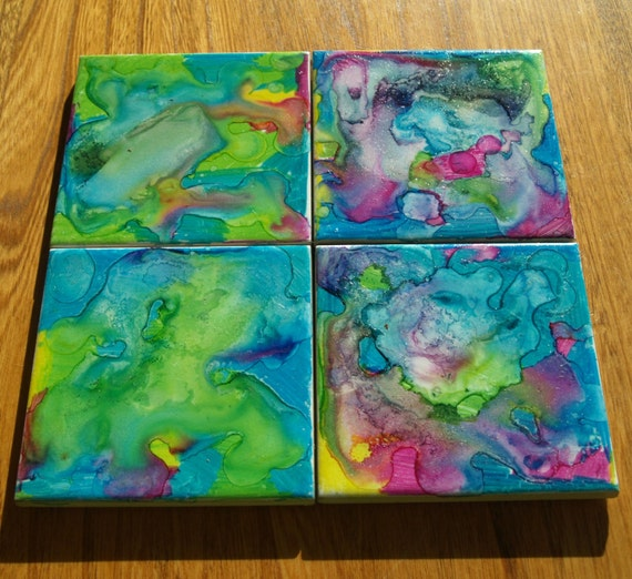 Water Colour Tile Coasters-Set of 4 handpainted watercolour effect tile coasters.Perfect gift for Birthday,House Warming,Mothers Day