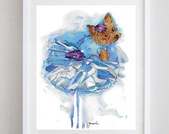 Yorkie watercolor painting,  Yorkshire terrier watercolor print  from original watercolor painting