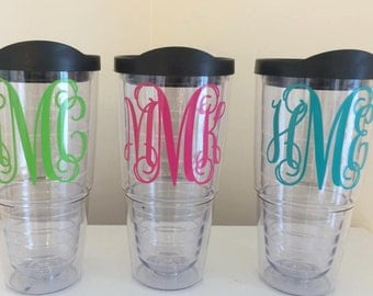 Personalized tumbler with travel lid and straw