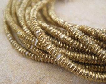 Brass Heishi Beads From the Villages of Ethiopia! African Metal Beads - Brass Spacers - Wholesale African Beads - Brass Beads 268