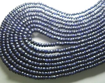 14 Inches, Natural Dyed Blue Sapphire Faceted Rondelles, Size 4-4.5mm