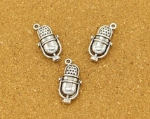 15pcs Microphone Charms Antique Silver Tone 3D Charms Singing Charm 27x13mm