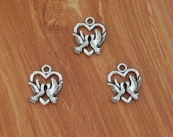 20pcs Lovebirds Heart Charms Swallow Pigeon Dove Birds Charms 20*16mm TS401