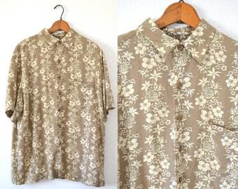 VTG Mens Hawaiian Shirt LARGE - Mens Tan Shirt - Mens Button Down Shirt Large