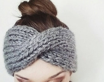 Chunky Knitted Turban Headband/Ear Warmer//Headband Color Featured In Heather Gray//Range In Sizes XS-XL