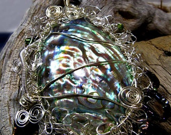 Ocean Paua Shell, Abalone Embellished with Beaded Bright Wire Twirls, Swirls & Spirals - EmbPaua2