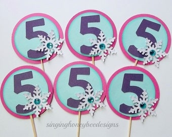 snowflake cupcake toppers, snowflake cake toppers, snowflake birthday party, winter onederland party, snowflake birthday, age cake toppers
