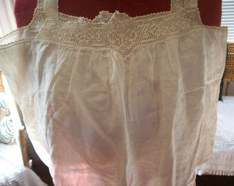 Antique Filet Lace trimmed linen hand done top 1800s