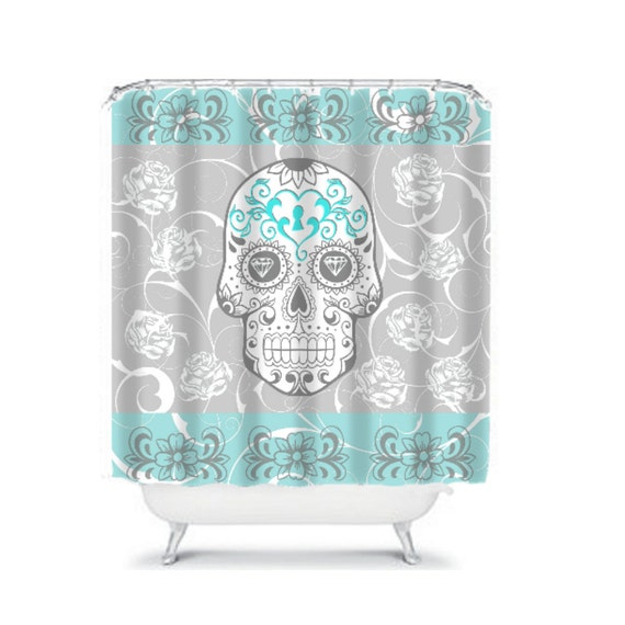Shower curtain sugar skull gray and turquoise for Turquoise and gray bathroom accessories