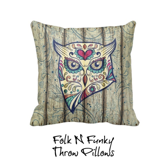 Owl Throw Pillow Etsy : Items similar to Sugar Skull Owl Pillow Throw Pillow Wood Grunge Design Primitive on Etsy