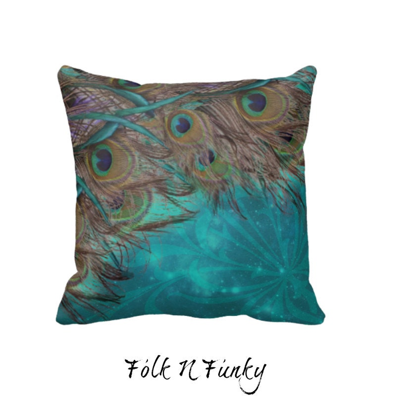 Peacock Pillow Decorative Throw Pillows Turquoise by FolkandFunky
