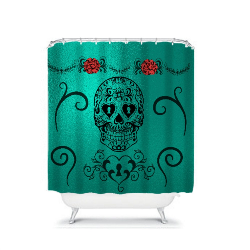 Shower Curtain Sugar Skull Teal Metallic Fabric by FolkandFunky