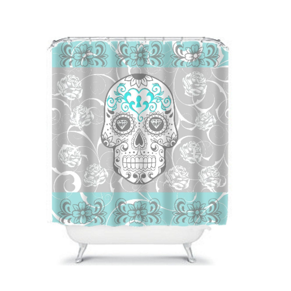 Shower Curtain Sugar Skull Gray And Turquoise