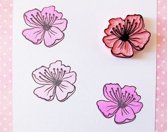 Cherry blossom, rubber stamp, flower, hand carved stamp, spring decor, Japanese, unmounted stamp